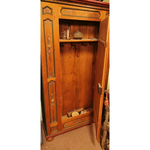 8 - Good quality 19th. C. pine hand painted cupboard the single door decorated with floral panels. { 189...