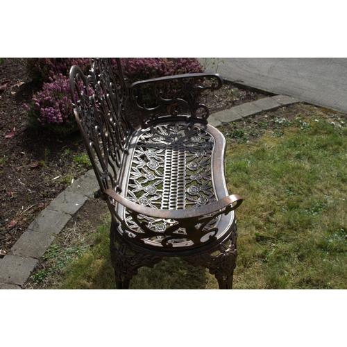 10 - Decorative bronzed cast aluminium two seater garden bench {87 cm H x 100 cm W x 50 cm D}....