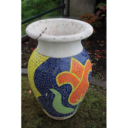 102 - Large multi coloured mosaic vase {90 cm H x 60 cm Dia.}....