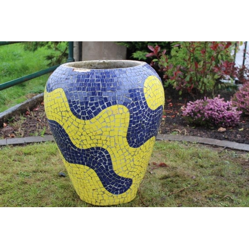 104 - Multi coloured mosaic vase {57 cm H x 60 cm Dia.}....