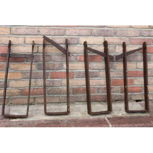 117 - Four 19th C. wrought iron beam brackets {62 cm H x 25 cm W x 6 cm D each}....