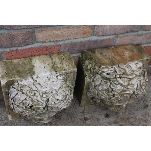 122 - Pair of stone heads in the form of water features {27 cm H x 22 cm W x 27 cm D}....