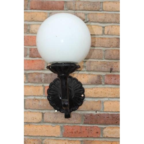 136 - Aluminium wall light with milk glass football shade {44 cm H x 40 cm W}...