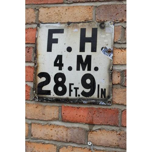 137 - F.H. 4. M. 28ft. 9in. Enamel railway sign {30 cm Sq.}...