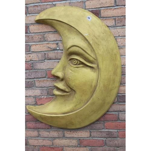 140 - Aluminium wall plaque in the shape of a smiling half moon {90 cm H x 60 cm W x 10 cm D}....