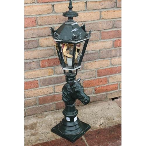 143 - Pillar lamp in the form a horse's head {90 cm H x 20 cm W x 23 cm D}....