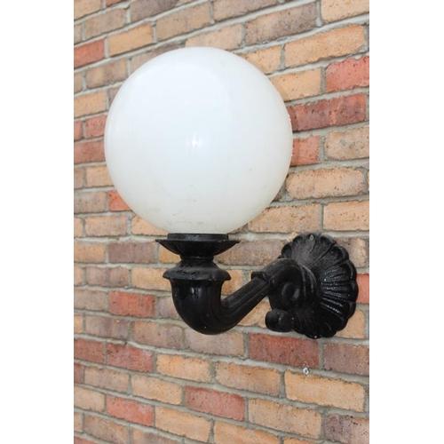 146 - Aluminium wall light with glass milk glass football shade {50 cm H x 35 cm W x 50 cm D}....