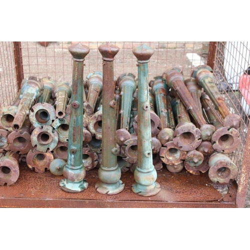 148 - Collection of forty seven cast iron railing posts {65 cm H x base 13 cm  Dia each}....