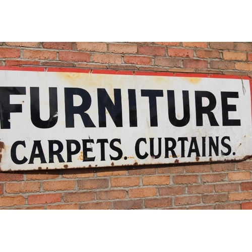 168 - Furniture Carpets. Curtains. Enamel advertising sign {62 cm H x 204 cm W}....