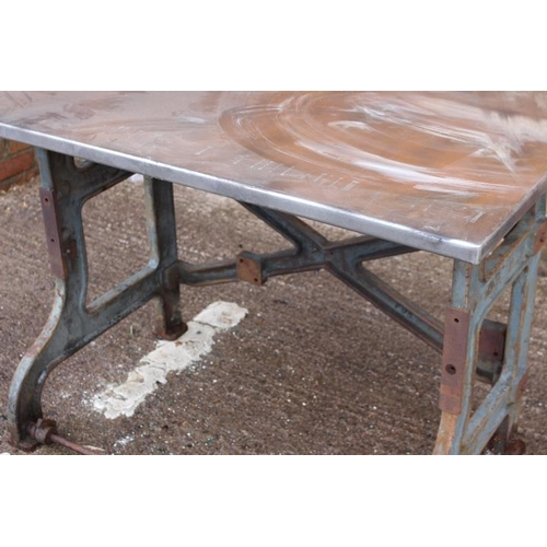176 - Cast iron industrial table with galvanised top {80 cm H x 115 cm W x 73 cm  D}....