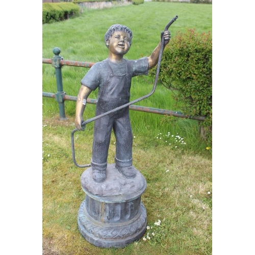 18 - Bronze fountain in the form of a boy raised on circular base {137 m H x 50 cm W x 76 cm D}....