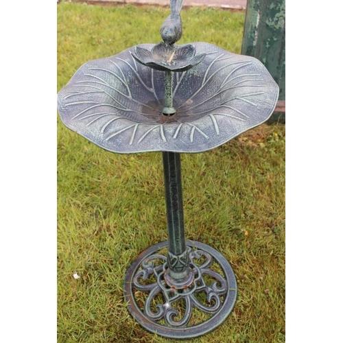 182 - Green aluminium bird bath with bird summounting flower {72 cm H x 45 cm Dia.}....
