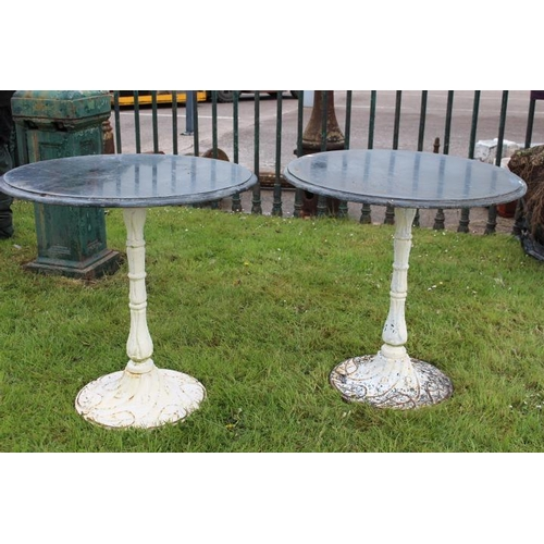 193 - Pair of Art Deco style cast iron tables square black marble tops {70 cm H x 55 cm Dia. each}....