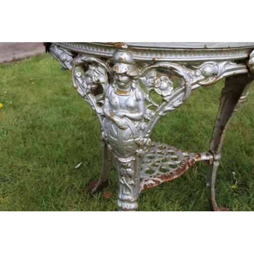 195 - Pair of  decorative cast iron tables the circular marble tops above the bases decorated with rams he...