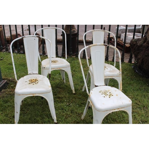 199 - Five piece garden set - metal table with white square marble top {75 cm H x 60 cm Sq.} and four Tole...