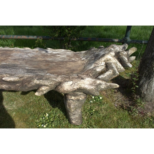 2 - Large carved wooden garden bench {65 cm H x 245 cm W x 70 cm D}....
