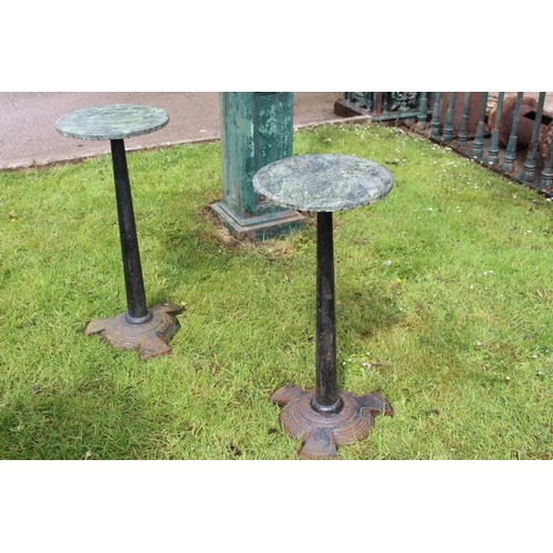205 - Pair of Art Deco style cast iron tables with circular marble tops {70 cm H x 30 cm Dia}....