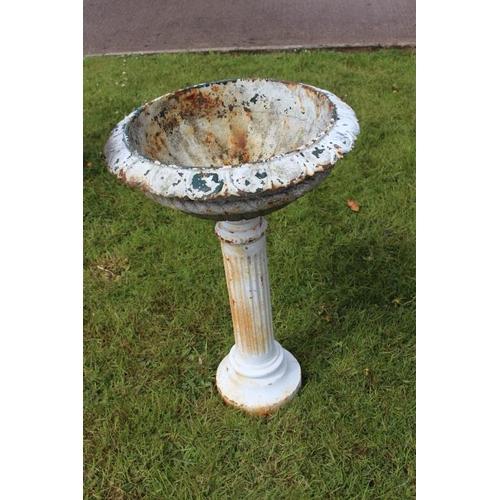 206 - Cast iron garden urn on pedestal stand {80 cm H x 53 cm Dia.}....