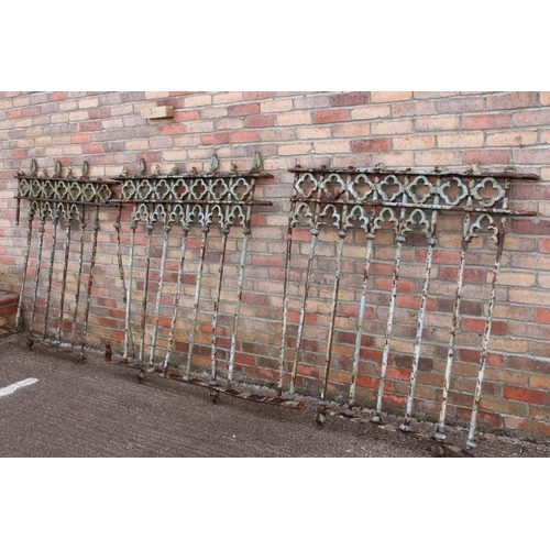 212 - Collection of steel cast railing {124 cm H x 390 cm W}....