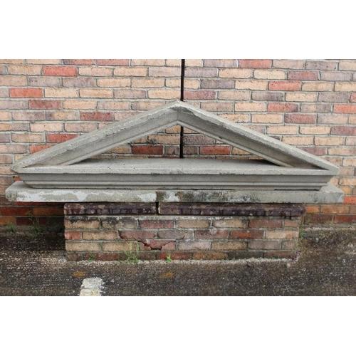 226 - 19th C. carved composite stone door head {62 cm H x 218 cm W x 27 cm D}....