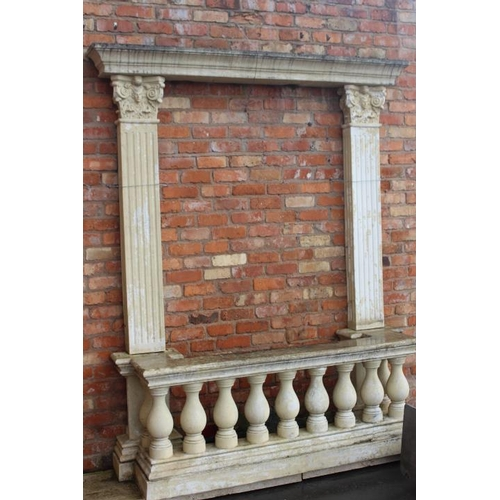 227 - Resin balcony complete with reeded columns and head {252 cm H x 194 cm W x 58 cm D}....