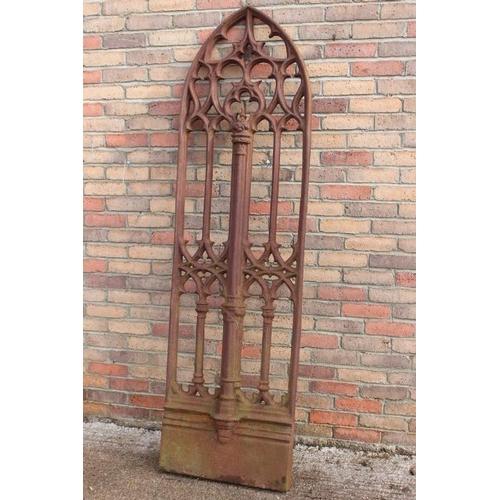 239 - 19th C. cast iron arched Gothic window {205 cm H x 59 cm W }....
