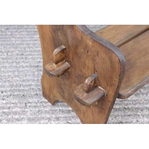 243 - Pair of wooden garden seats in the Gothic style {74 cm H x 70 cm W x 46 cm D}....