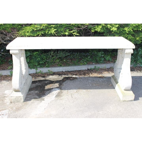277 - Stone and marble garden seat mounted on two carved shaped supports {70 cm H x 150 cm W x 70 cm D}....