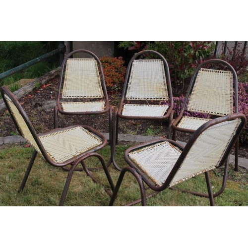 28 - Set of five of metal and rattan upholstered garden chairs {54 cm H x 50 cm W x 40 cm D each}....