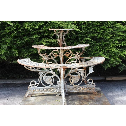 280 - Decorative cast iron three tier water fall garden plant stand {100 cm H x 122 cm W x 60 cm D}....