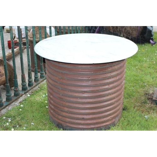 287 - Metal barrel with marble top {73 cm H x 90 cm Dia}....