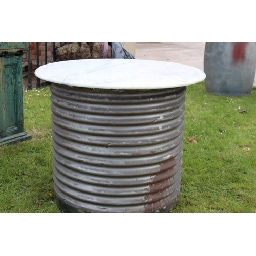 288 - Metal barrel with marble top {73 cm H x 90 cm Dia}....