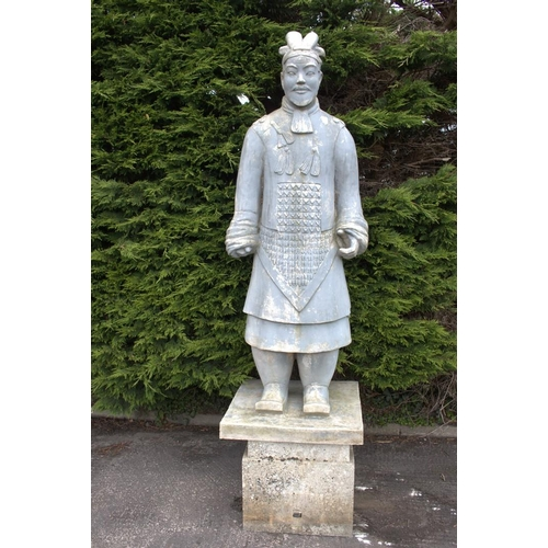 3 - Model of Ancient Chinese Warrior {200 cm H x 70 cm Dia.} moulded in fibreglass raised on stone plint...