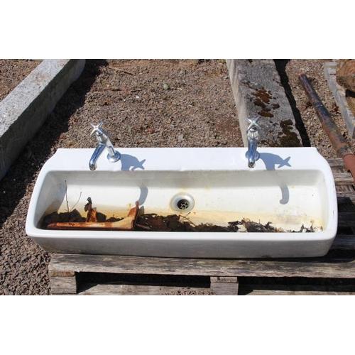 301 - Ceramic double sink with taps {103 cm W x 30 cm D}....