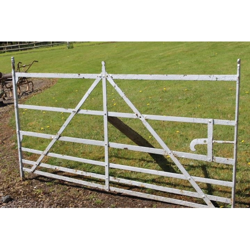 305 - 19th C. blacksmiths wrought iron field gate {126 cm H x 252 cm W}....