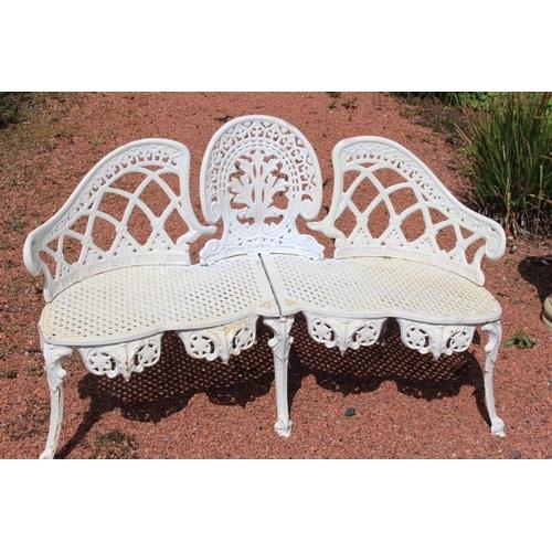 308 - Cast iron garden bench {80 cm H x 140 cm W x 43 cm D}....