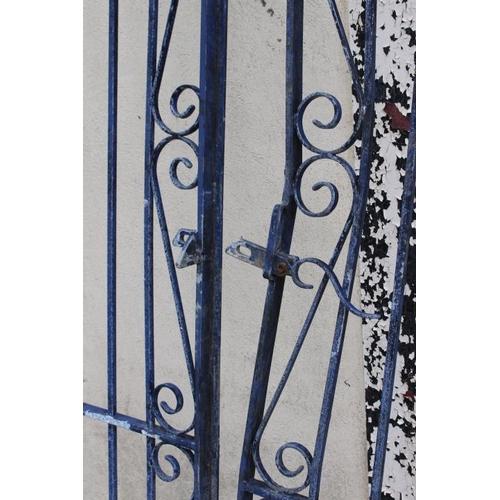 309 - Pair of wrought iron garden entrance gates {200 cm H x 132 cm total W}....