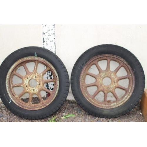 317 - Pair of 19th C. lorry wheels {86 cm Dia.}....