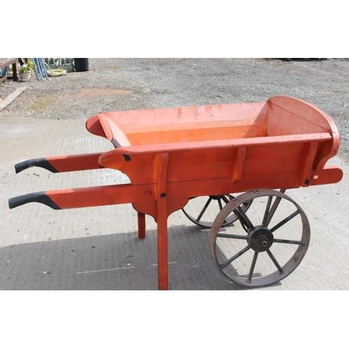 335 - 19th C. painted wooden gardener's cart {80 cm H x 160 cm W x 60 cm D}....