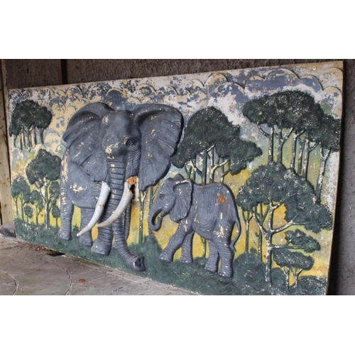 345 - Painted coloured wall plaque depicting Elephants {117 cm H x 330 cm W x 45 cm D}....
