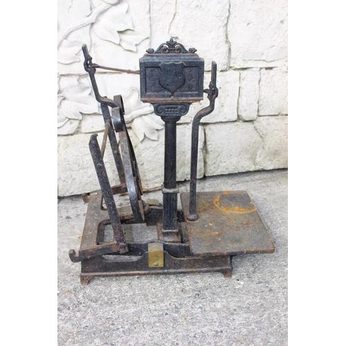 353 - 19th C. cast iron sack scales {60 cm H x 60 cm W x 34 cm D}....