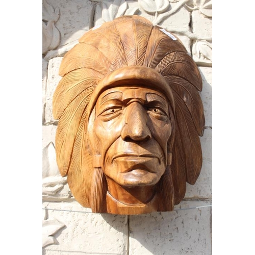 354 - Carved wooden Indian Chief tobacco shop advertising head {60 cm H x 40 cm W x 24 cm D}....