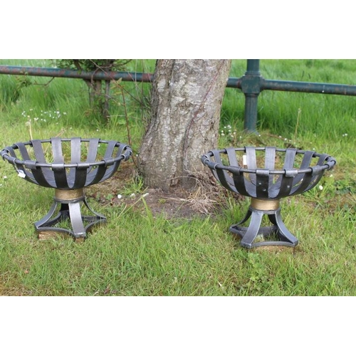 356 - Pair of metal planters {26 cm H x 36 cm Dia}....