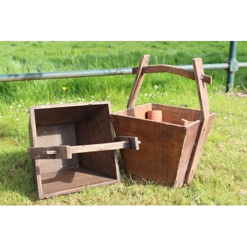 357 - Pair of wooden diary buckets {55 cm H x 34 cm Sq. each}...