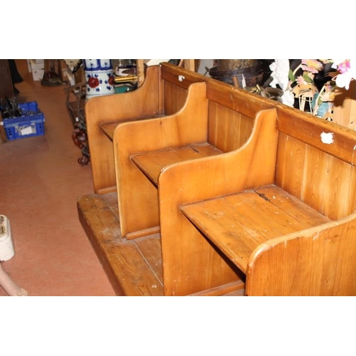 358 - 19th C. three seater pine pew with lift up seats {90 cm H x 82 cm W x 65  cm D}....