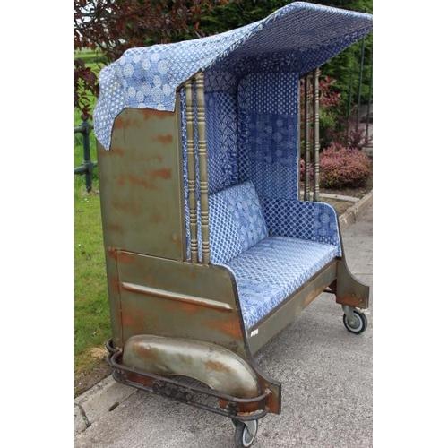 367 - Upholstered Tuk Tuk garden seat {170 cm H x 140 cm W x 100 cm D}....