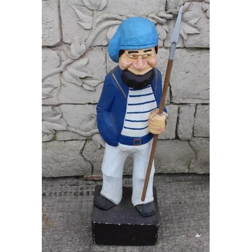 373 - Wooden figure of Sailor {93 cm H x 28 cm W x 23 cm D}....