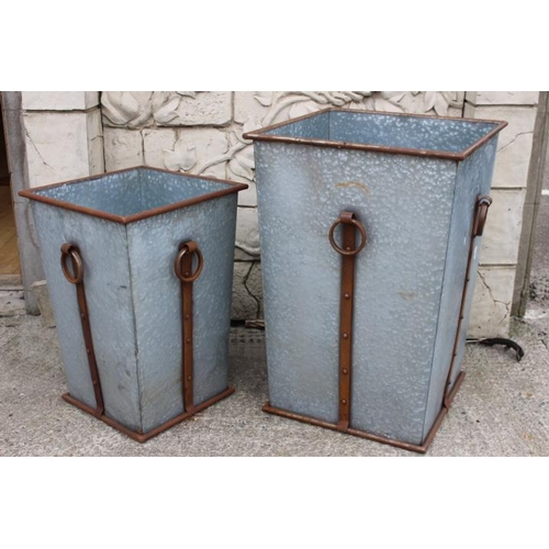 374 - Two square metal garden planters {1. 80 cm H x 56 cm Sq. and 2. 64 cm H x 44 cm Sq.}....
