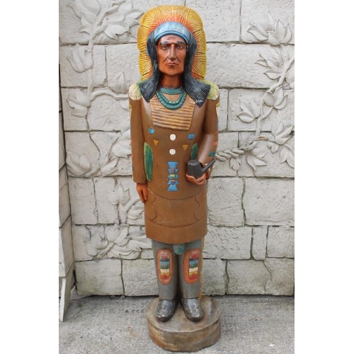 375 - Carved wooden Indian Tobacco advertising figure {160 cm H x 40 cm W x 30 cm D}....