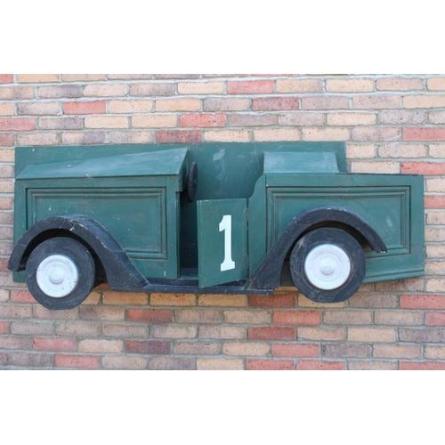 378 - Wooden green car advertising wall plaque {60 cm H x 180 cm W x 50 cm D}....